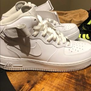 Nike mid top Air Force ones. Worn once